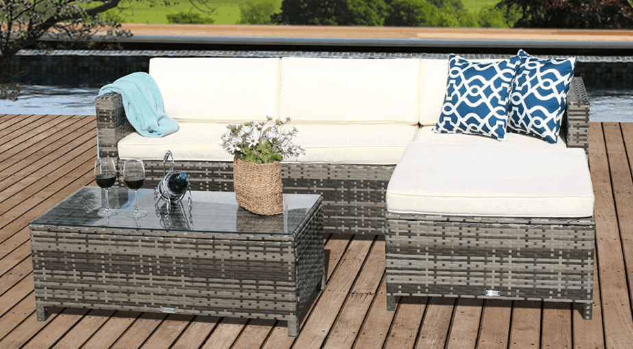 5pcs Patio Outdoor PE Wicker Rattan Sectional Furniture Set