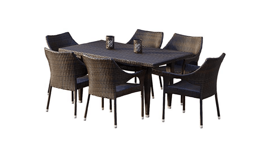 7-Piece Outdoor Wicker Dining Set by Great Deal Furniture