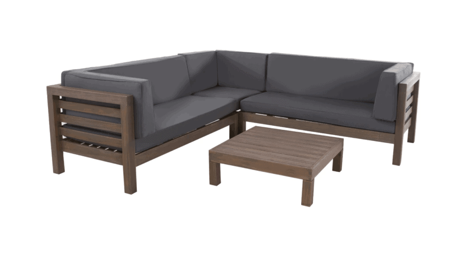 Oana 4pc Acacia Wood Patio Sectional Chat Set w/ Cushions