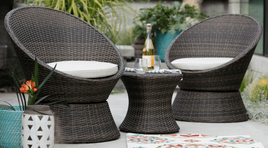 Coral Coast Laynee All Weather Wicker 3 Piece Patio Swivel Chairs and Side Table Set