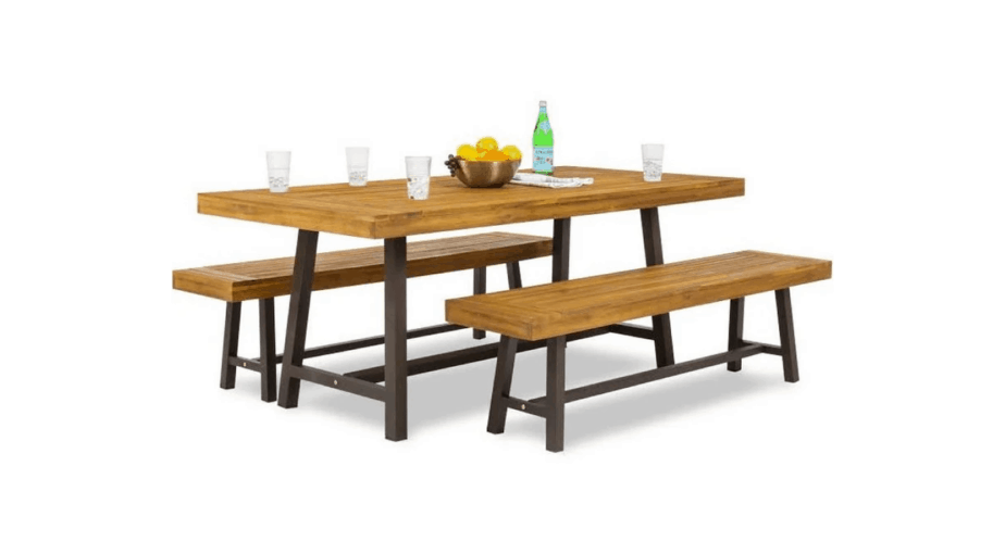 3-Piece Acacia Wood Picnic Style Outdoor Dining Table