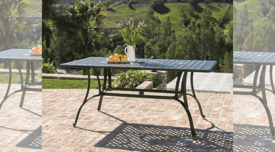 Fonzo Outdoor Bronze Cast Aluminum Rectangular Dining Table