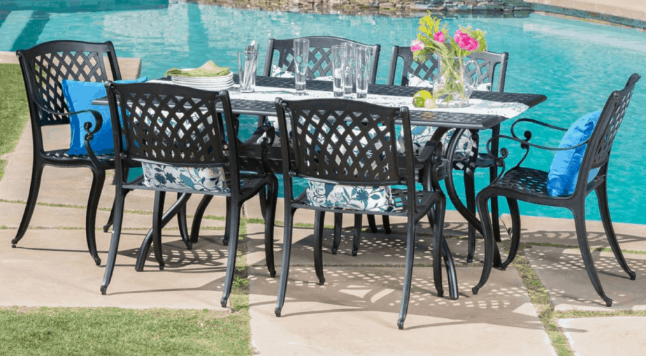Cayman Black 7-Piece Aluminum Rectangular Outdoor Dining Set