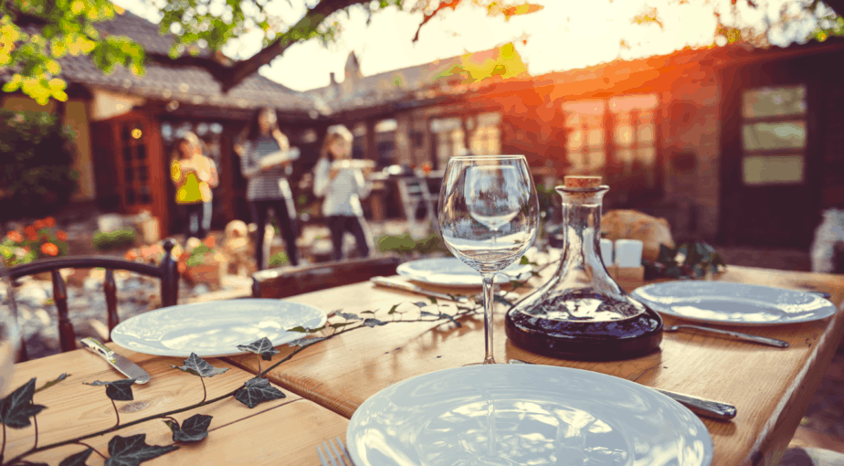 An outdoor dinner party with friends