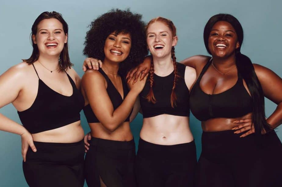 """""""What's My Body Type?"""" A group of women with different body types in workout clothes."""