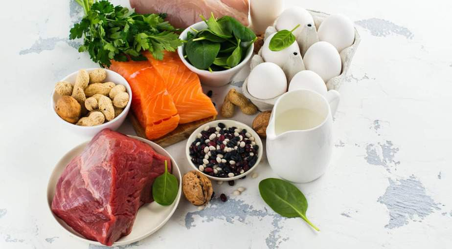 Building muscle requires a surplus of calories. The photo shows a variety of healthy, protein-rich foods.