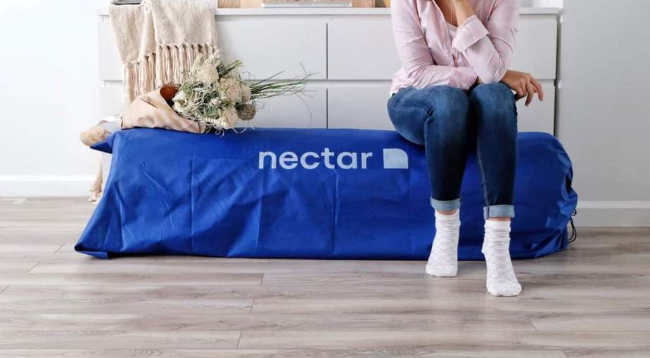 Your Nectar mattress arrives in a blue bag