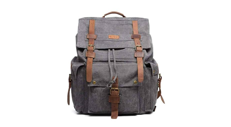 Kattee Leather Canvas Rucksack