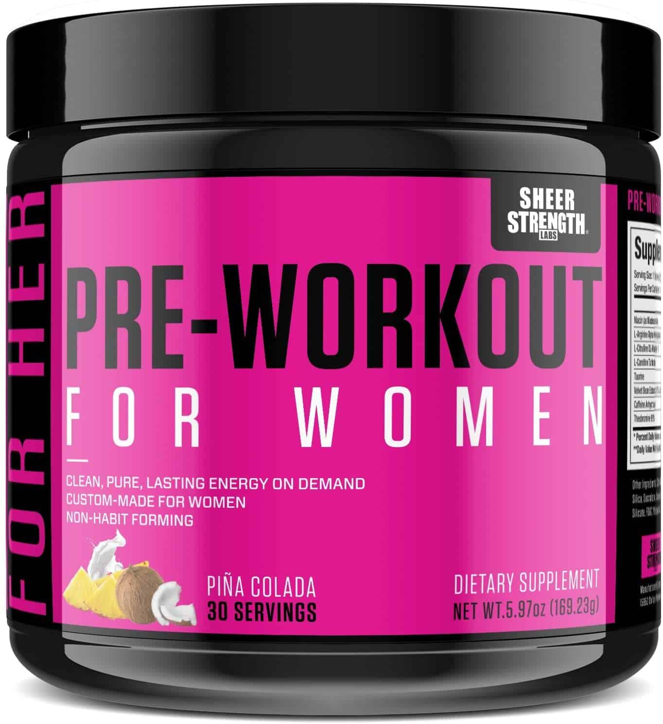 Photo of jar of sheer strength women's pre workout